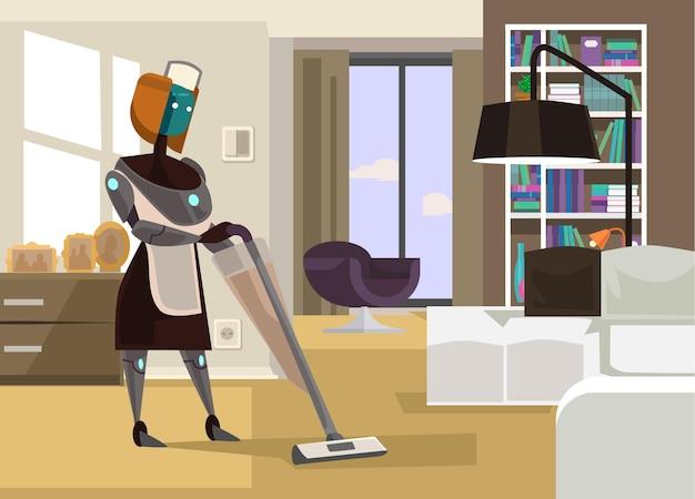 Ilustração dos desenhos animados do robô dona de casa limpando a casa