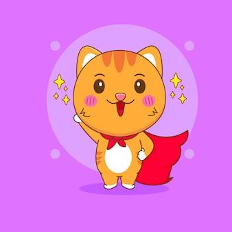 Ilustração dos desenhos animados do super-herói gato fofo com personagem de capa vermelha