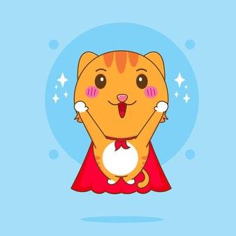 Ilustração dos desenhos animados do super-herói gato fofo voando com capa vermelha