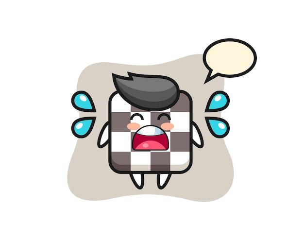 Ilustração dos desenhos animados do tabuleiro de xadrez com gesto de choro, design de estilo fofo para camiseta, adesivo, elemento de logotipo