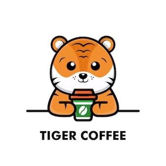 Ilustração dos desenhos animados do tigre bonito beber xícara de café