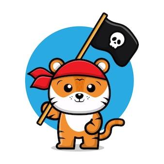 Ilustração dos desenhos animados do tigre pirata fofo