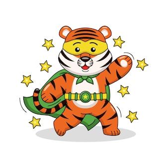 Ilustração dos desenhos animados do tigre super-herói fofo