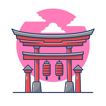 Ilustração dos desenhos animados do torii gate.