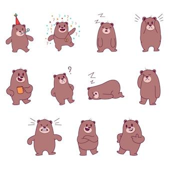 Ilustração dos desenhos animados do urso bonito.