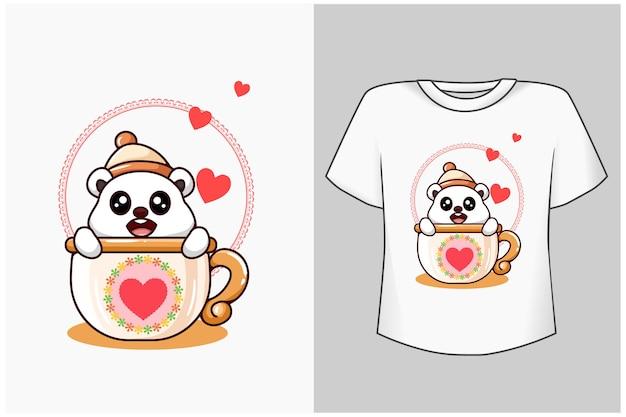 Ilustração dos desenhos animados do urso fofo na taça