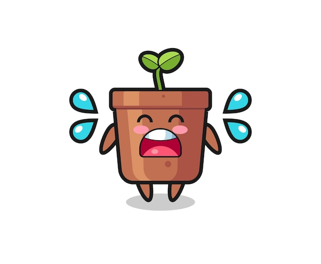 Ilustração dos desenhos animados do vaso de plantas com gesto de choro, design de estilo fofo para camiseta, adesivo, elemento de logotipo