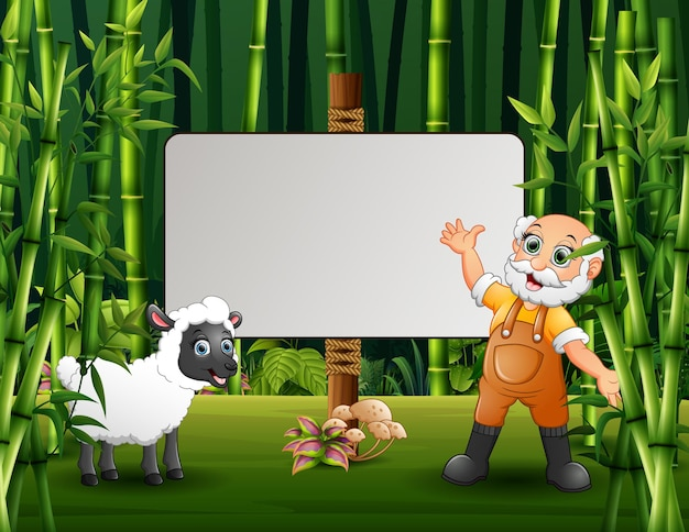 Ilustração dos desenhos animados do velho fazendeiro e uma ovelha em pé perto da placa em branco