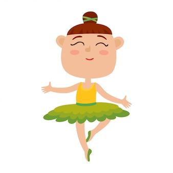 Ilustração dos desenhos animados do vetor da dançarina feliz da menina. dançarina de balé bonito dançando no tutu verde