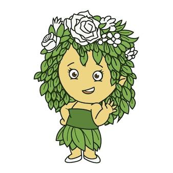 Ilustração dos desenhos animados do vetor da menina bonito.