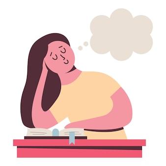 Ilustração dos desenhos animados do vetor da mulher sonhando acordada isolada em um fundo branco.
