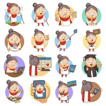 Ilustração dos desenhos animados do vetor do grupo bonito da senhora idosa.