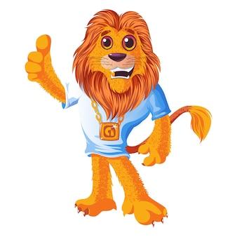 Ilustração dos desenhos animados do vetor do leão bonito.