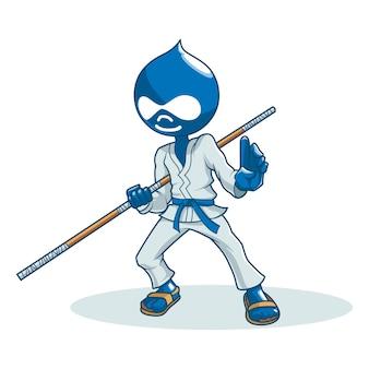 Ilustração dos desenhos animados do vetor do ninja bonito.