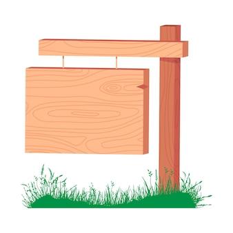 Ilustração dos desenhos animados do vetor do sinal de madeira isolada em um fundo branco.