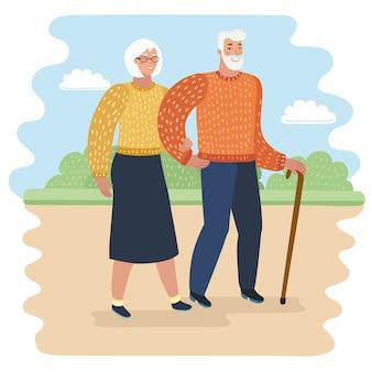 Ilustração dos desenhos animados do vovô com bengala e mulher idosa no parque da cidade.