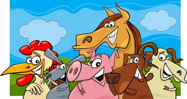 Ilustração dos desenhos animados dos animais de fazenda