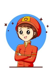 Ilustração dos desenhos animados dos bombeiros para o dia do trabalho