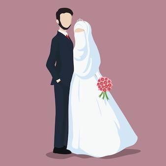 Ilustração dos desenhos animados dos noivos.