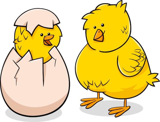 Ilustração dos desenhos animados dos pintainhos de páscoa