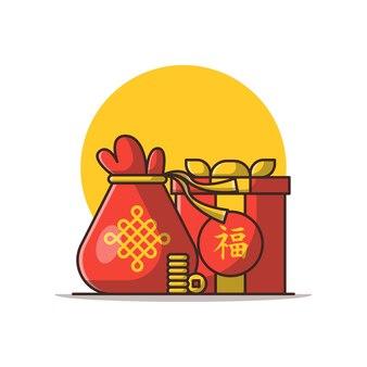 Ilustração dos desenhos animados dos presentes do ano novo chinês. conceito de ano novo chinês isolado. estilo flat cartoon