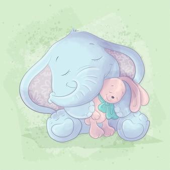 Ilustração dos desenhos animados em aquarela de um elefante fofo com um brinquedo de coelho