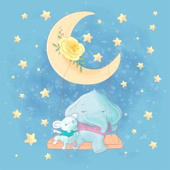 Ilustração dos desenhos animados em aquarela de um elefante fofo e rato em um balanço na lua