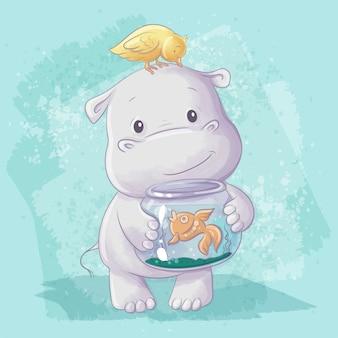 Ilustração dos desenhos animados em aquarela de um hipopótamo fofo com um pássaro e um peixe em um aquário