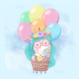 Ilustração dos desenhos animados em aquarela de uma menina unicórnio fofo em um balão