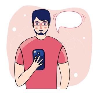 Ilustração dos desenhos animados estilo plano de hipster moda rapaz na moda menino homem com cabelos punk verdes, citação motivacional seja você mesmo.