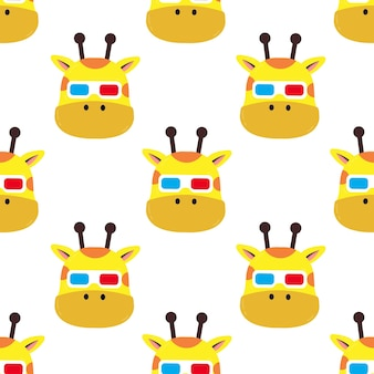 Ilustração dos desenhos animados girafa com óculos padrão sem emenda
