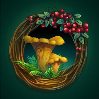 Ilustração dos desenhos animados grinalda de videiras e folhas em um fundo verde com cogumelos chanterelle
