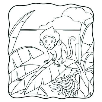 Ilustração dos desenhos animados: macaco escalando bananeira livro para colorir ou página para crianças em preto e branco