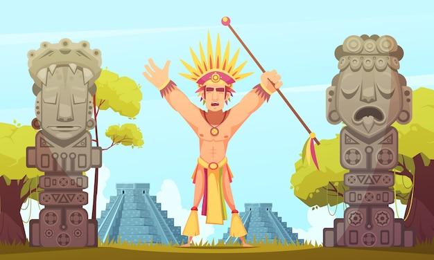Ilustração dos desenhos animados maias