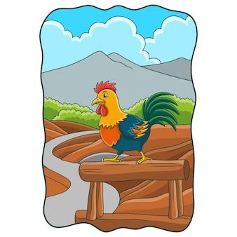 Ilustração dos desenhos animados o galo se prepara para cantar no tronco