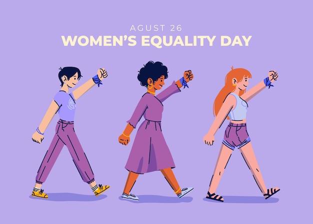 Ilustração dos desenhos animados para o dia da igualdade feminina