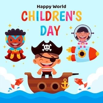 Ilustração dos desenhos animados para o dia mundial da criança