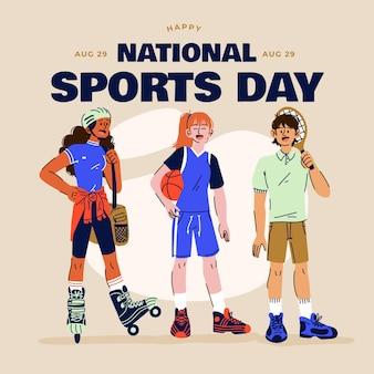 Ilustração dos desenhos animados para o dia nacional do esporte