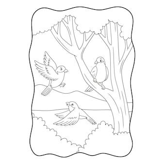 Ilustração dos desenhos animados pássaros cantando no livro ou na página das árvores em preto e branco
