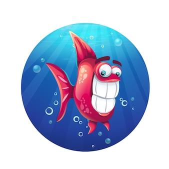 Ilustração dos desenhos animados peixe vermelho engraçado