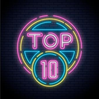 Ilustração dos dez primeiros neon