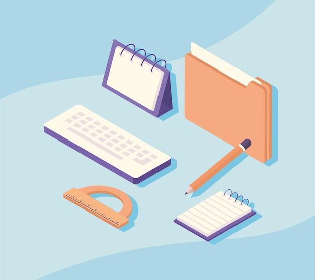 Ilustração dos elementos do equipamento do local de trabalho de documentos e suprimentos