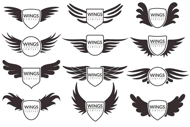 Ilustração dos emblemas e adesivos do logotipo da wings
