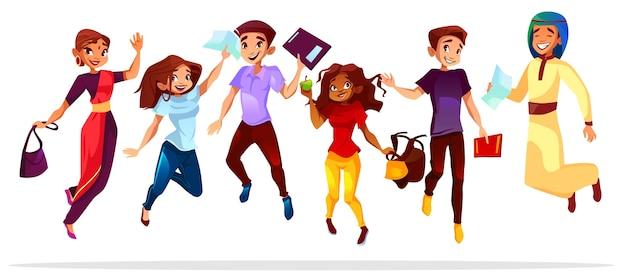 Ilustração dos estudantes da faculdade ou da universidade das nacionalidades diferentes dos colegas que saltam acima.