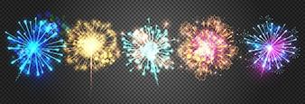 Ilustração dos fogos-de-artifício de luzes brilhantes sparkling do foguete.