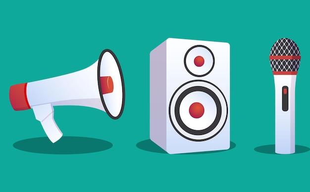 Ilustração dos ícones de alto-falante, woofer e microfone de design plano