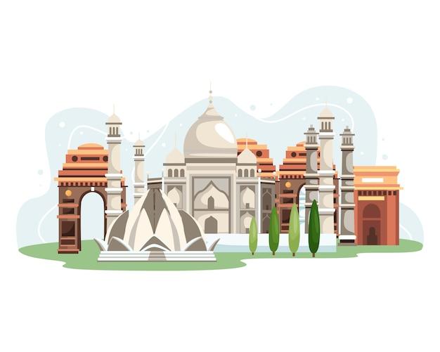 Ilustração dos marcos da índia