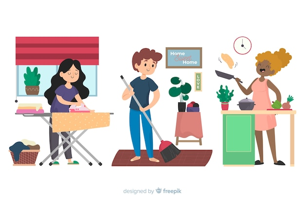 Ilustração dos melhores amigos fazendo trabalhos domésticos juntos