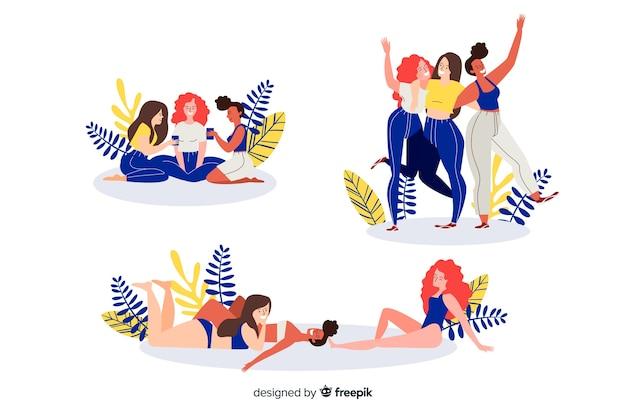 Ilustração dos melhores amigos se divertindo juntos conjunto