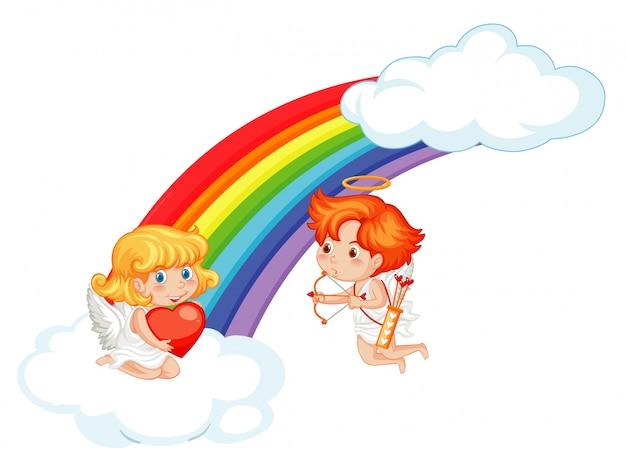 Ilustração dos namorados com cupidos voando no céu
